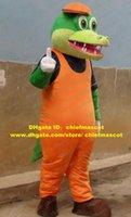alligator shirt - Vivid Green Crocodile Alligator Mascot Costume Cartoon Character Mascotte Orange Hat Blue Shirt White Gloves Long Tail ZZ807 FS