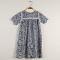 Wholesale Sleeve Inner Wholesale - Sweet Baby Girls Lace Embroidered Flower Flare Sleeve Princess Dres With Inner Suspender Dress Hollow Out Whoesale Dress