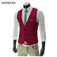 Wholesale Fall New Fashion Mens Suit Vest Korean British Style Business Dress Suits Vest Wine Red Slin Fit Gilet Costume Homme Colors