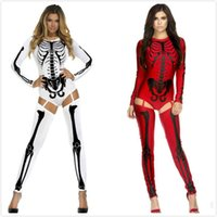 bad halloween costumes - Bad To The Bone Halloween Skeleton Costume D Print Jumpsuit Long Sleeves bodysuit European Style