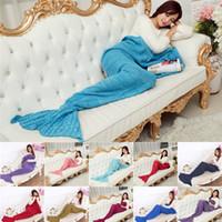 Wholesale New Hot x95CM Knitted Mermaid Tail Blanket Super Soft Handmade Ladies Blanket Crochet Anti Pilling Portable Women Blankets Colors