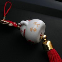 Wholesale Ceramic Plutus Cat Auto Hang Act The Role Ofing Is Tasted Safety In High grade Chinese Knot Rearview Mirror Interior Pendant