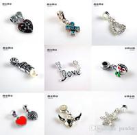 Wholesale Newest Fits pandora charms silver plated beads Dangle pendants Big Hole beads For European Charms Bracelets Jewelry Free ship DHL