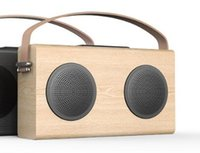 bank wooden - AVWOO Wooden bluetooth speaker with FM Radio USB Charging Line in display power bank built in rechargeable battery