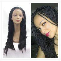 Wholesale African Black Women Hairstyle Synthetic Twist plait Braided Lace Front Wig Senegal Lock Braid Lace Front Wigs for Black Women