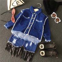 best denim skirt - Girls Outfits Child Clothes Kids Clothing Best Suits Autumn Coat Denim Skirt Girl Dress Children Set Kids Suit Outfits Lovekiss C27674