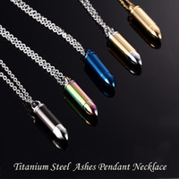Wholesale 5Colors Men Titanium Steel Urn Necklaces Cremation Case Perfume Bottle Bullet Pendant Chains Necklace Women Jewelry Can be open put in Ashes