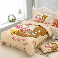 bear comforter - Japanese Cartoon Kawaii Bear Rilakkuma Bedding Set Twin Size Bed Sheets Pillowcase Duvet Cover Cotton Fabric Bedclothes for Kids