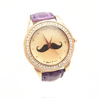 beards band - PVC leather band gold case crystal deco beard imprint dial quartz movement gerryda fashion woman lady leather watches