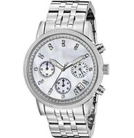 quartz en acier inoxydable montre blanc achat en gros de-Livraison gratuite New White Dial Stainless Steel Quartz Chronograph Ladies Watch 5020