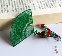 Wholesale Hot Metal Stainless Steel Creative Vintage Tassel Green Fans Shape Handmade Gifts Chinese Style Classic Original Bookmark PL