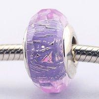 Wholesale 2016 Purple Shimmer Sterling Silver Bead Fit Pandora Bracelet Fashion Jewelry DIY Charm Brand