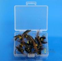 artificial bees - 12 Foam Bee Trout fishing flies Box Packing Set Fly fishing Lure Artificial bait Fly Fishing w Free Box D505