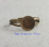 atom rings - BK antique bronze mm flower plate settings Open ring atom