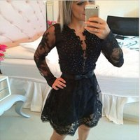 Wholesale Sexy Cocktail Dress Evening Custom Bling Lace Applique V Neck Sheer Long Sleeve Little Black A Line Short Mini Special Occasion Dresses