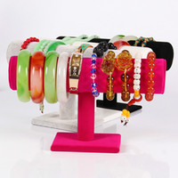 bar organizers - Portable Velvet Bracelet Necklace Chain Bangle Watch T Bar Rack Jewelry Display Organizer Stand Holder Case