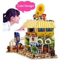 Wholesale Cute Design Flower Shop Puzzles High Quality Safety D Romantic Flowers House Model Puzzles for Children A072