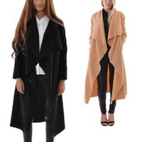 Wholesale new Autumn Spring Women Trench Half Sleeve Waterfall Belt Large Lapel Coat Cardigan Tops