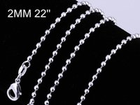 Cheap 925 Silver Beautiful Necklaces 2mm Balls chains Necklace Different Mult Sizes 925 Silver Balls Chain Allergy Free