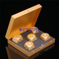 Wholesale Multi Function Golden Metal Gambling Dice Set mm Board Game Dices Bar KTV Party Casino