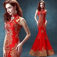 Wholesale 2016 blue red embroidery Elegant Mermaid Evening Dresses Formal Prom Party Gowns