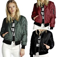 Wholesale 2016 Autumn Slim Bomber Jacket Women Stand Collar Coats Zipper Casual Long Sleeves Sports Coat Outwear