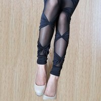 Wholesale Plus Size Bow Lace Leggings Super Stretch Bandage Skinny Pants Slimming Mesh Leggings for Women Female Sexy Elastic Leggins fish net skinny