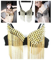 belly dance bra wear - 2016 New Arrival Punk Tassel Rivet Bra Underwear Tops DJ Sexy Pole Dancing Sequins Party Dancer DS Costumes Hip Hop Nightclubs Stage Wear