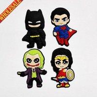 batman labels - Novelty Batman vs Superman cartoon PVC Shoe Charms Shoe Accessories Fit Croc For Shoes wristbands with Holes Kids Party Favors