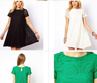bell bottom skirt - Openwork lace loose short sleeved dress A word skirt bottoming