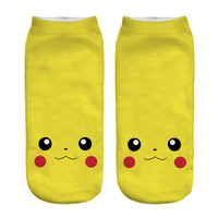 ball sock - 2017 New Poke Pocket Socks Fashion Monster Ankle Socks Poke Pikachu Sock Slippers Poke Ball Boat Socks D Print Digital Socks Poke Hosiery