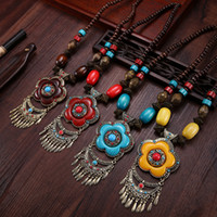 amber sweaters - Vintage Tibetan Ethnic wind Tassels Necklace Pendants Handmade Imitate Beeswax Turquoise Tibetan Silver Amber Wooden Beads Sweater Chain