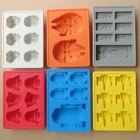 Wholesale 6 designs Silicone Star Wars Darth Vader Storm Trooper R2D2 Falcon X Wing Hans Solo Mold Ice Cube Tray Chocolate Fondant