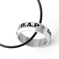 bap band - Kpop B A P baby date titanium steel ring tail ring Infinity size Send leather cord boxes k pop anel BAP men women Jewelry