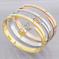 Wholesale Design Luxury Brand Love Bracelet Women Stainless Steel Roman Numerals Accessories Zircon Bangle Bracelets For Women Jewelry
