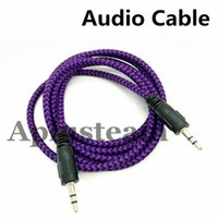 Wholesale High Quality mm Braided AUX Audio Cable Woven M Auxiliary Stereo Jack Male Car Colorful Cord for iphone s Samsung S7 S6 Speaker MP3
