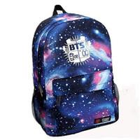 Wholesale 2016 Fashion Laptop Backpack Galaxy Printed BTS School Bag For Teenager Girls Canvas Men Outdoor Travel Sport Rucksack Bolso Mochila Escolar