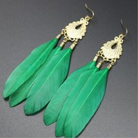 allergy metal - earrings Fashion Jewelry green Feather metal hot earring for women love Retro yellow copper alloy Prevent allergy k Piece