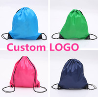 Wholesale Basic Drawstring Tote Cinch Sack Promotional waterproof Backpack folding sport Bag for men and women nylon sackbag can custom LOGO