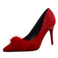 Cheap Rilihong® Women's Shoes Suede Stiletto Heel Heels   Pointed Toe   Closed Toe Heels Dress Black   Brown   Pink   Red   Gray   Burgundy
