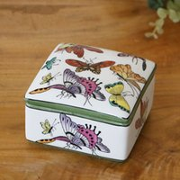 hand painted jewelry box - Quadrate hand painted ceramic Jewelry holder for Women floral birds pattern ceramic box Chinese Arts and Crafts Household items