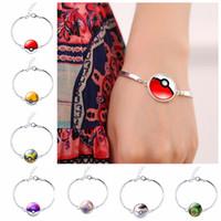 Wholesale Woman Poke mon Bangle Silver Plated Bracelet Poke ball fashion Women s Geometric Cuff Silver Charm Bracelet design LJJK500