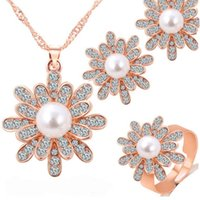 Wholesale Hot Fashion Wedding Jewelry Sets for Bridal Gold Silver Plated Flower Simulated Pearl Crystal Pendant Necklace Earrings Rings Set CT027