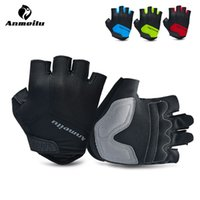 baseball glove padding - Anmeilu Unisex Cycling Gloves Half Finger Mountain MTB Road DH Bike Gloves Shockproof Padded Palm Guantes Ciclismo Breathable