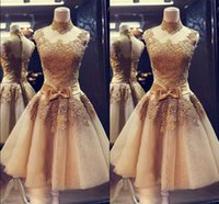 Wholesale 2016 High Neck Short Graduation Dresses Lace Appliques Sheer Tulle Knee Length Homecoming Dress Sleeveless Prom Gowns