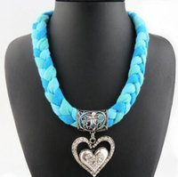 Wholesale Fashion Colorful Braided Heart Designer Pendant Scarves for Women Ladies Woven Fashion Charms Jewelry Scarf Warm Autumn Winter