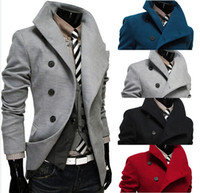 Wholesale Hot Sale New cotton Men trench coat Lapel double breasted design Men leisure trench coat