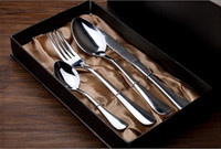 Wholesale Western steak Family pieces knife and fork spoon Thick stainless steel cutlery High grade Christmas gift set E400