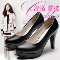 Wholesale women high heels shoes Work shoes black heels with round etiquette women shoes shoes for low occupation size