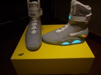 Wholesale 2016 Air Mag AKA Marty McFly Basketball Shoes Back To The Future Glow In The Dark Sole Mag Limited Edition Sneaker Led Lights